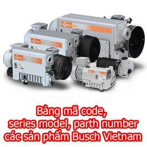Bảng mã code, series model, part number các sản phẩm Busch Vietnam